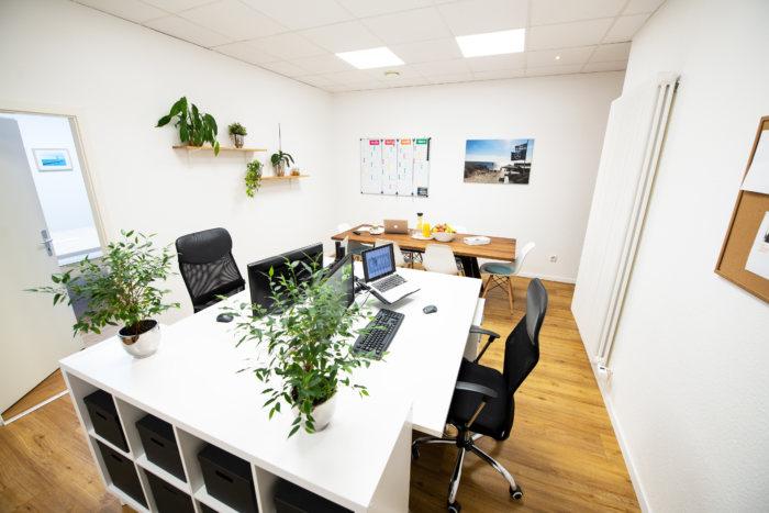 Unternehmungsberatung Oldenburg: Es steht eine Arbeitsinsel im Raum bestehend aus einem großen Tisch mit zwei Arbeitsplätzen einem Regal und vielen Pflanzen.